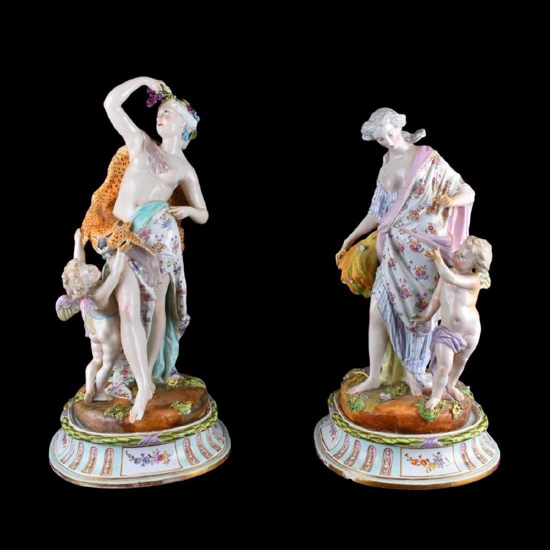 Impressive Pair of Meissen Porcelain Figural Group