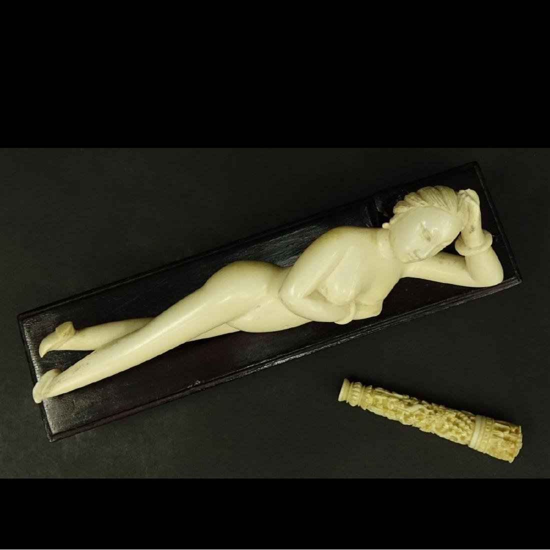 Antique Chinese Ivory Doctors Lady and Needle Case - 2