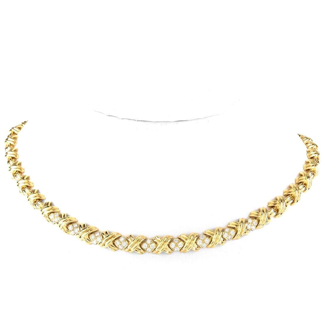 Tiffany & Co Diamond and 18K Gold X Necklace