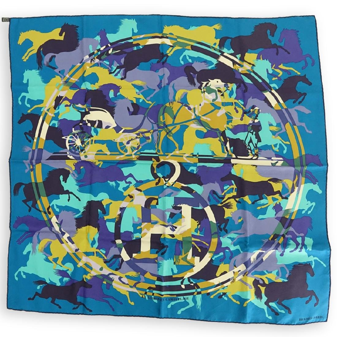 Hermes Ex Libris en Camouflage Twill Silk Scarf
