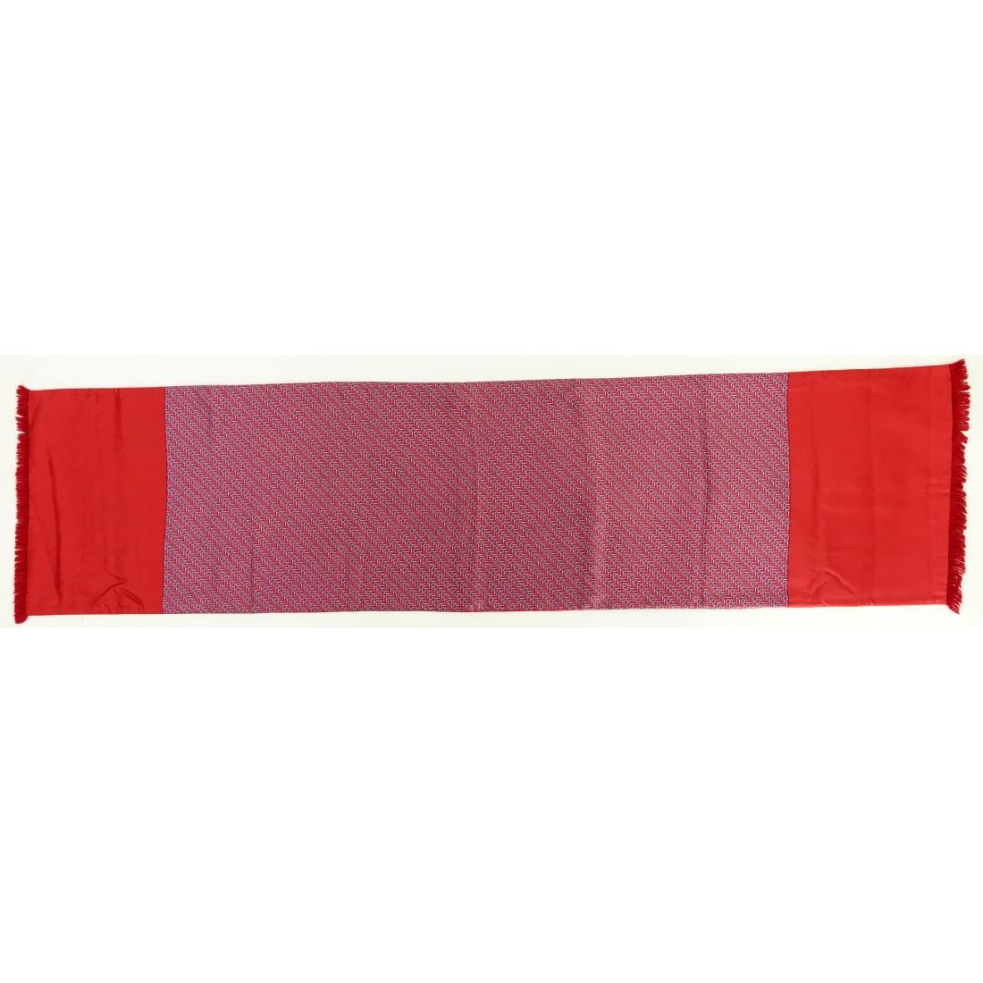 Hermes Red/Blue Silk and Angora Winter Scarf - 2