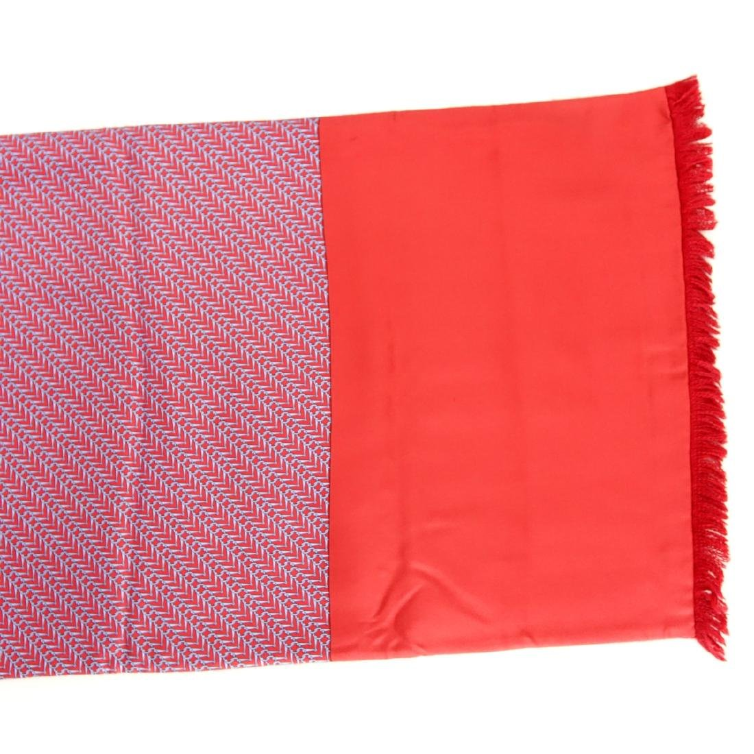 Hermes Red/Blue Silk and Angora Winter Scarf - 3