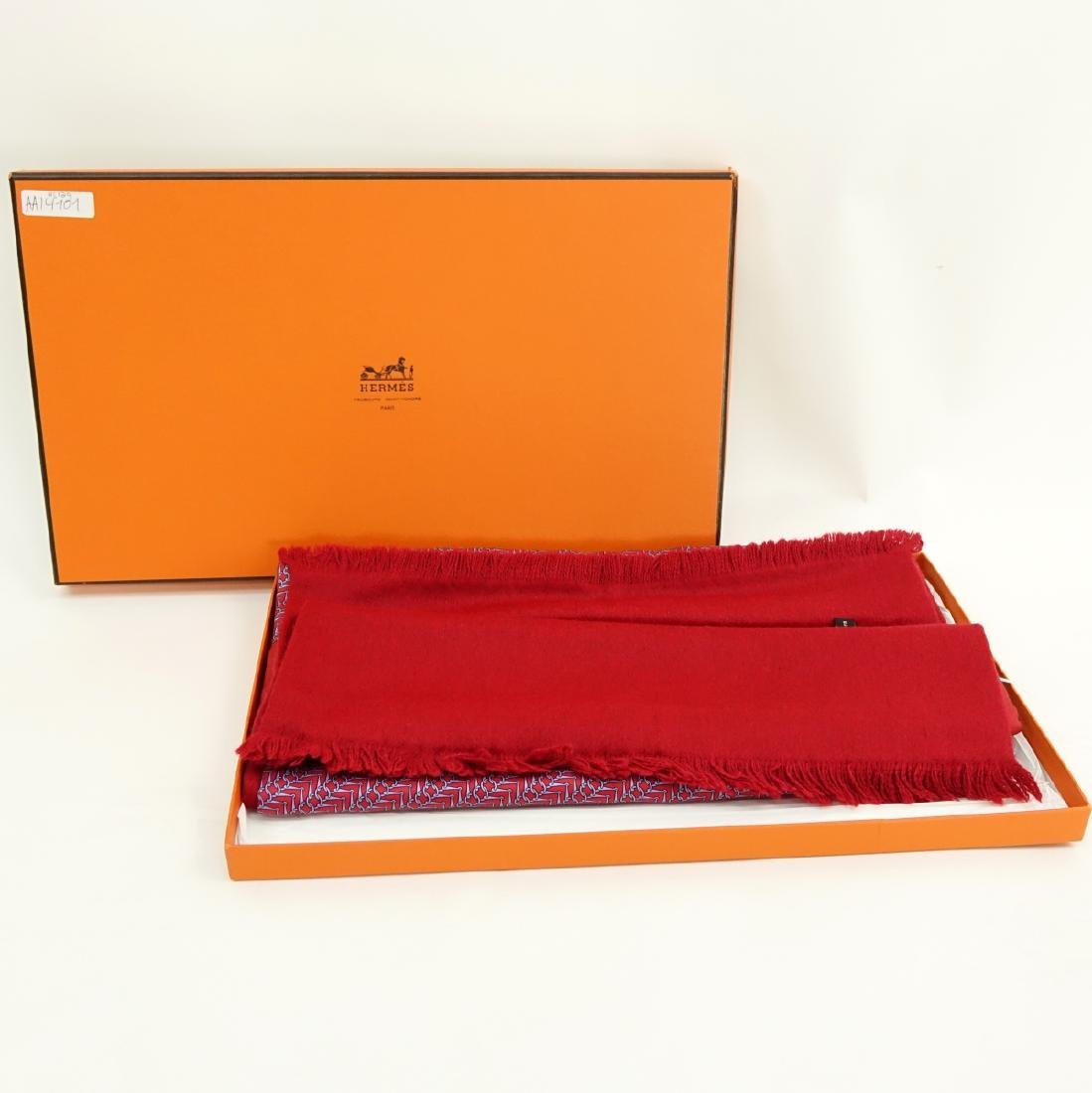 Hermes Red/Blue Silk and Angora Winter Scarf - 7