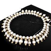 25.0ct TW Diamond, Pearl and 18K Gold Necklace