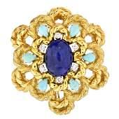 Vintage Diamond, Lapis, Turquoise and 18K Brooch