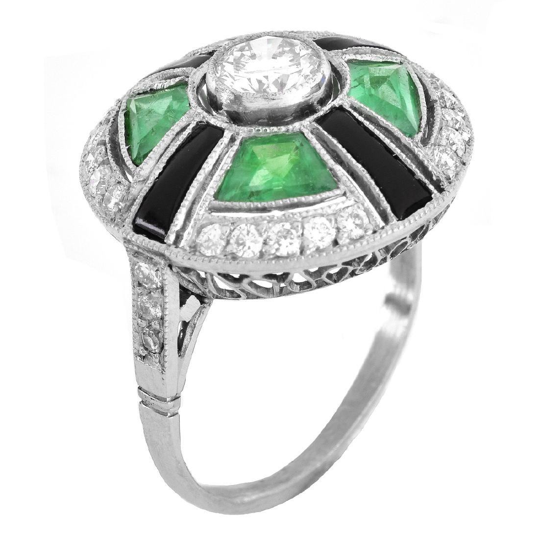 Art Deco Emerald, Diamond and Platinum Ring