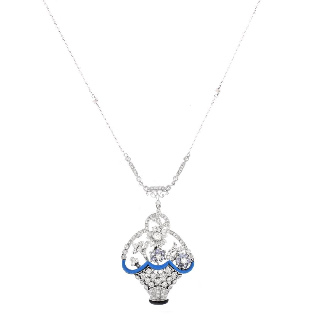 Diamond, Sapphire and 18K Gold Necklace