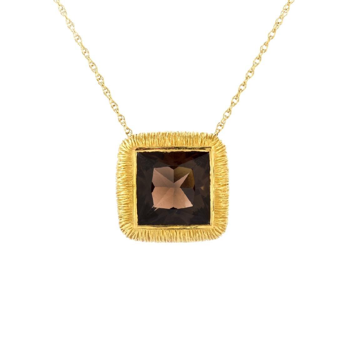 Smokey Quartz and 18K Gold Necklace
