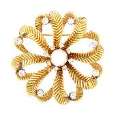 Vintage Diamond, Pearl and 14K Gold Brooch