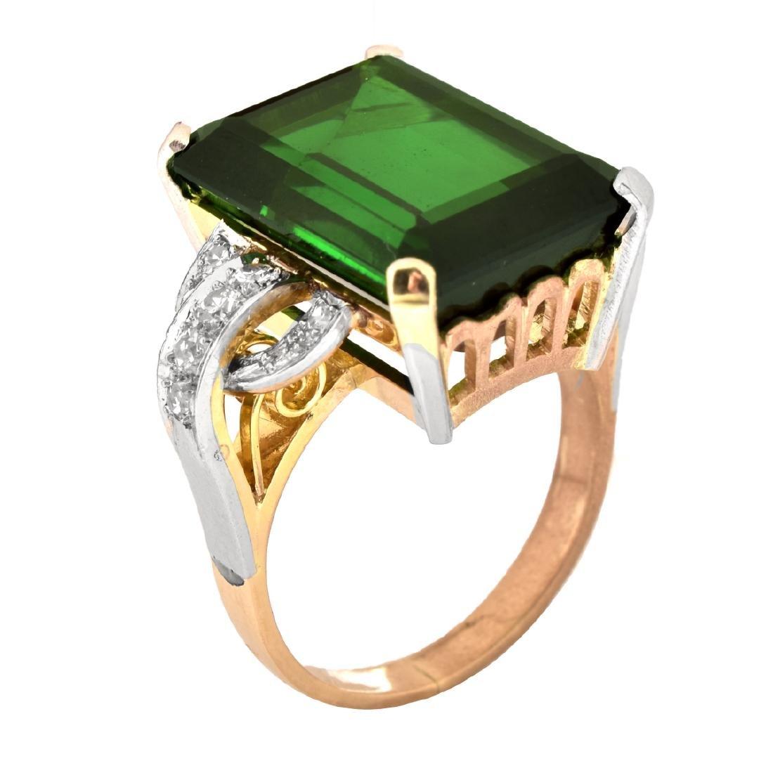 French Tourmaline, Diamond and 18K Gold Ring