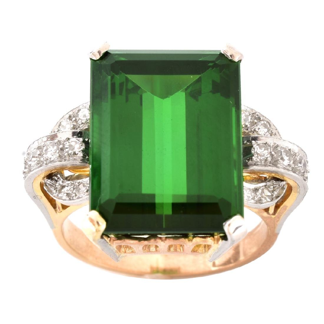 French Tourmaline, Diamond and 18K Gold Ring - 2