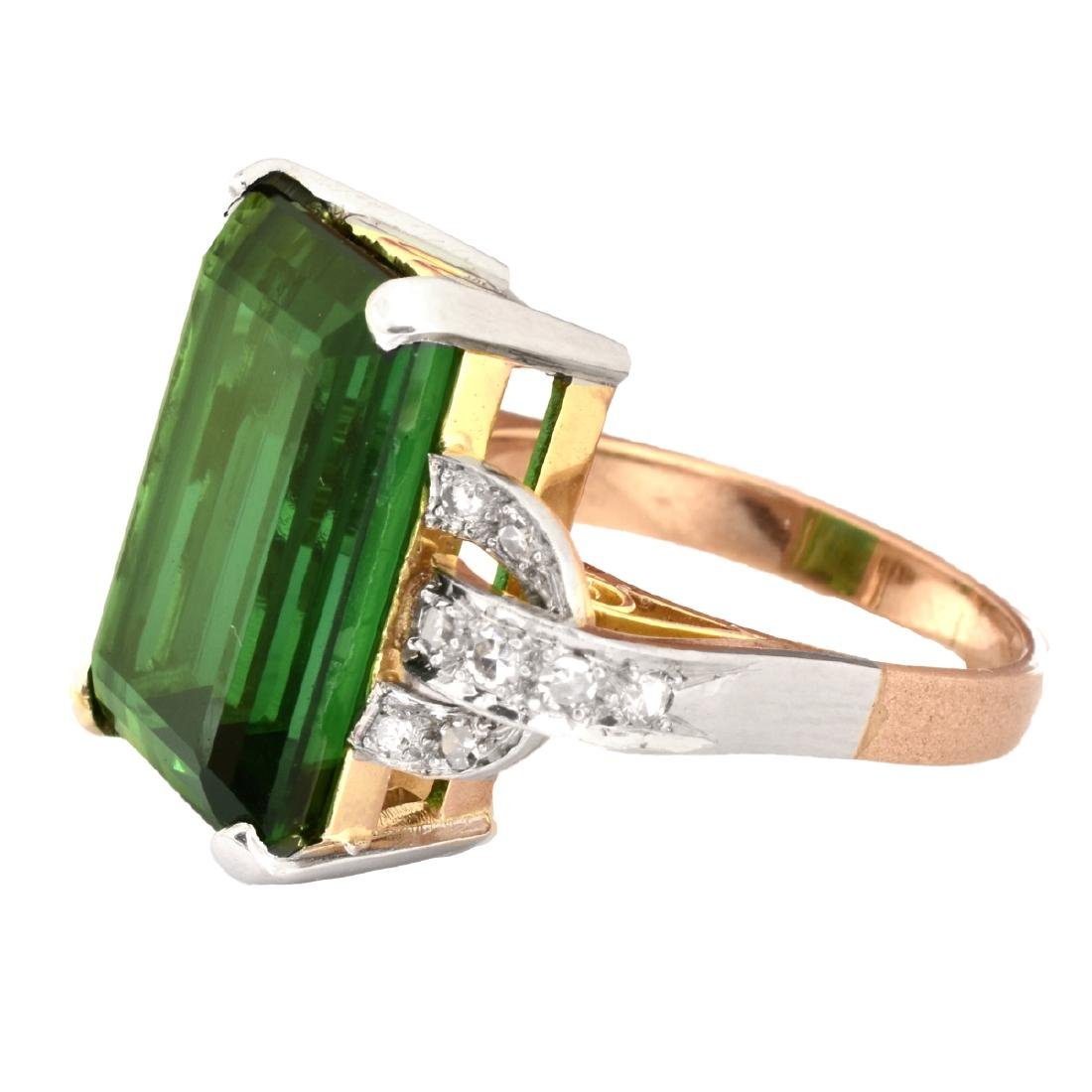French Tourmaline, Diamond and 18K Gold Ring - 3