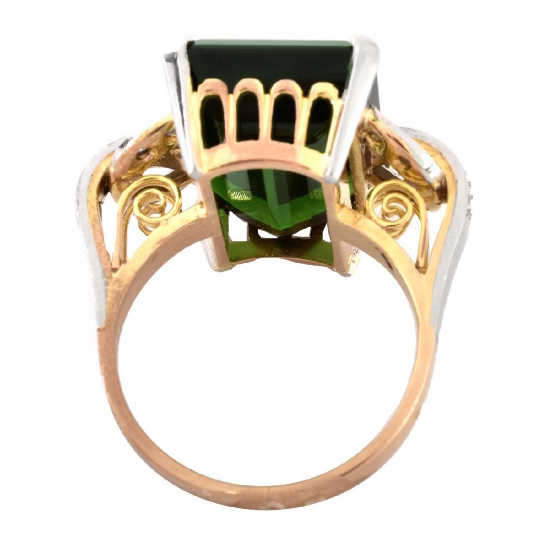 French Tourmaline, Diamond and 18K Gold Ring - 4