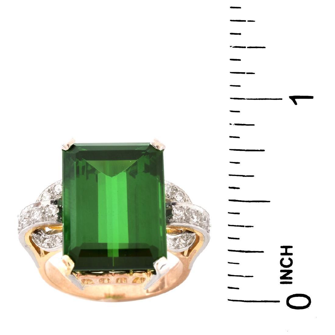 French Tourmaline, Diamond and 18K Gold Ring - 5