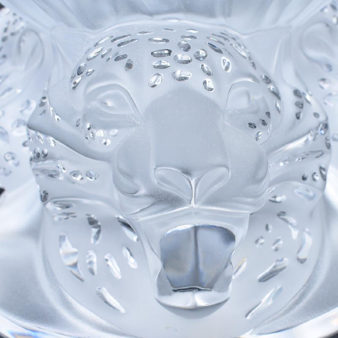 Lalique Jaguar Clear and Frosted Crystal Vase - 3