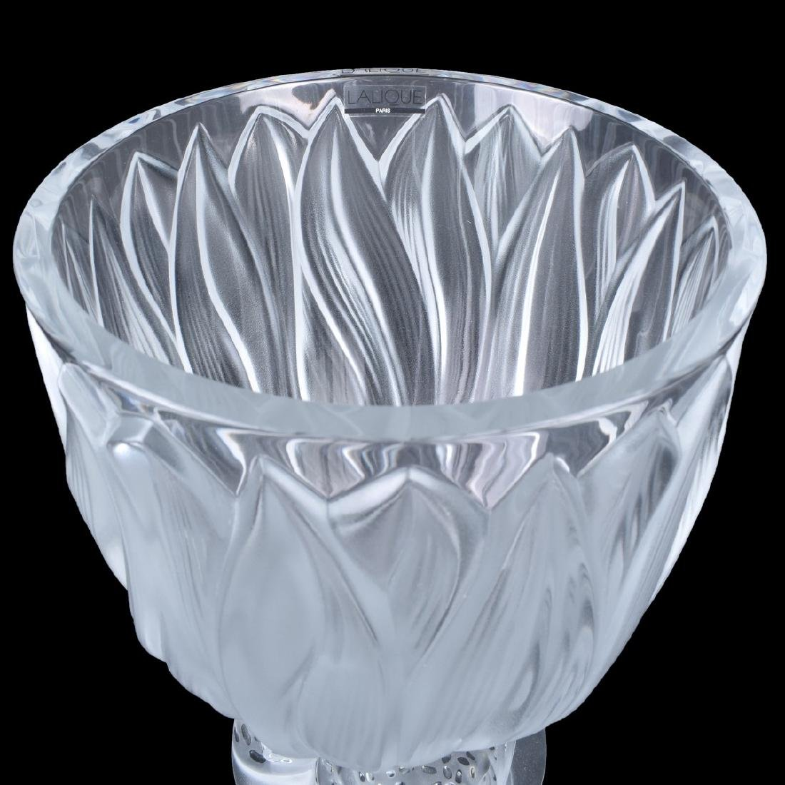Lalique Jaguar Clear and Frosted Crystal Vase - 4
