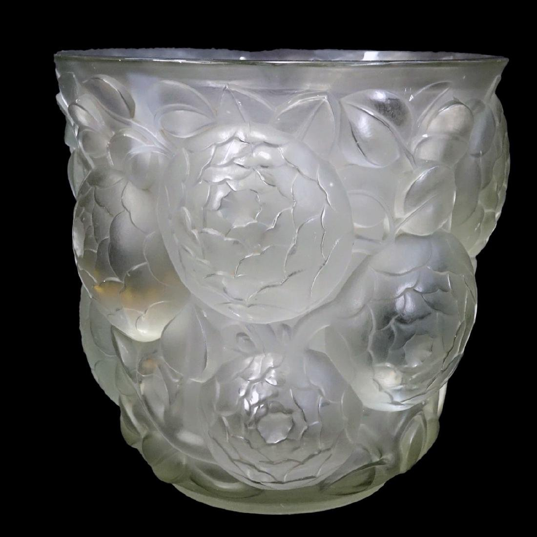 "Large Rene Lalique ""Oran"" Frosted Art Glass Vase - 2"