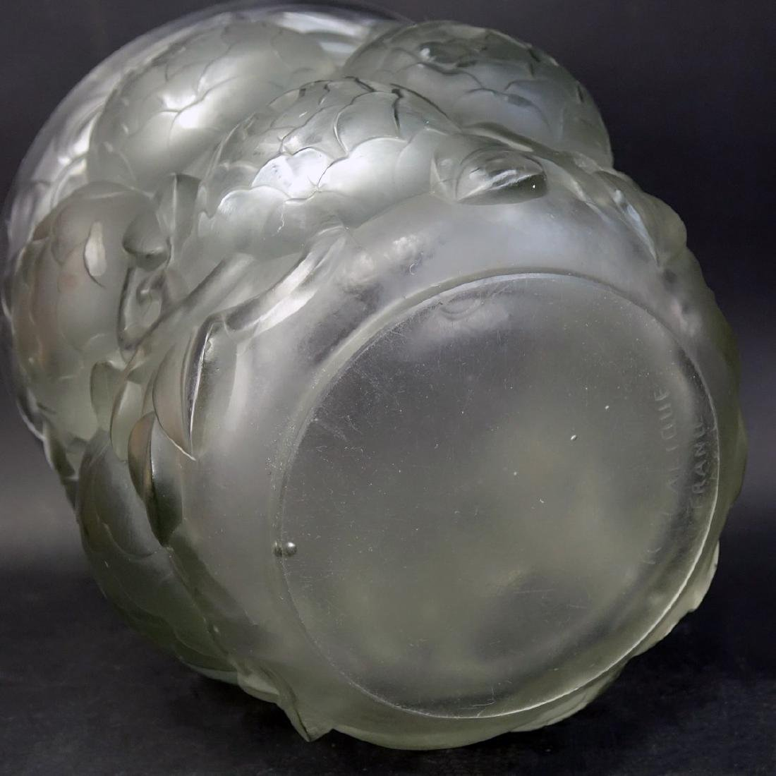 "Large Rene Lalique ""Oran"" Frosted Art Glass Vase - 4"