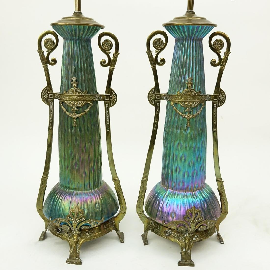Pr Loetz Sea Urchin Art Nouveau Art Glass Lamps