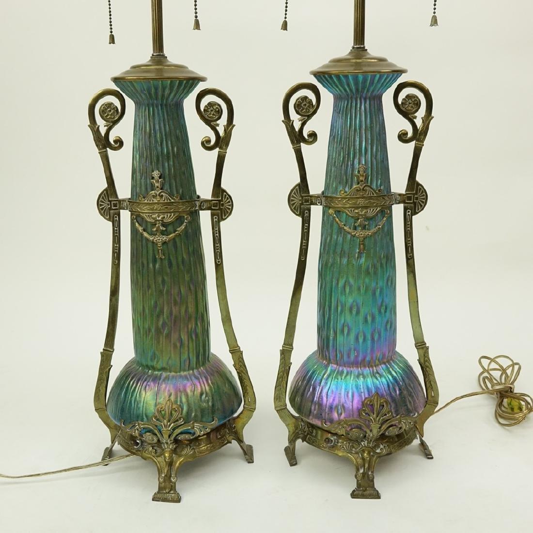 Pr Loetz Sea Urchin Art Nouveau Art Glass Lamps - 2