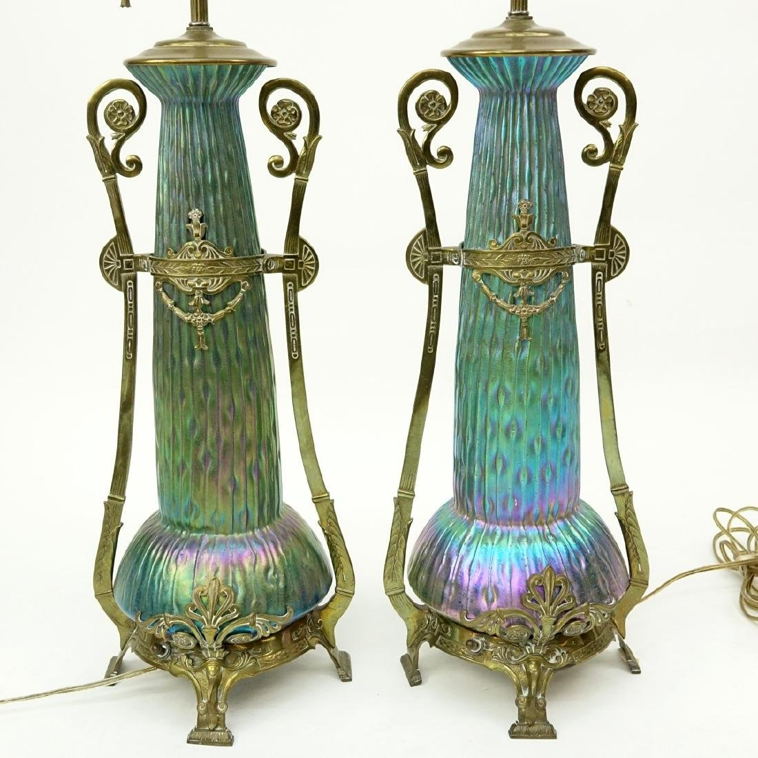 Pr Loetz Sea Urchin Art Nouveau Art Glass Lamps - 3