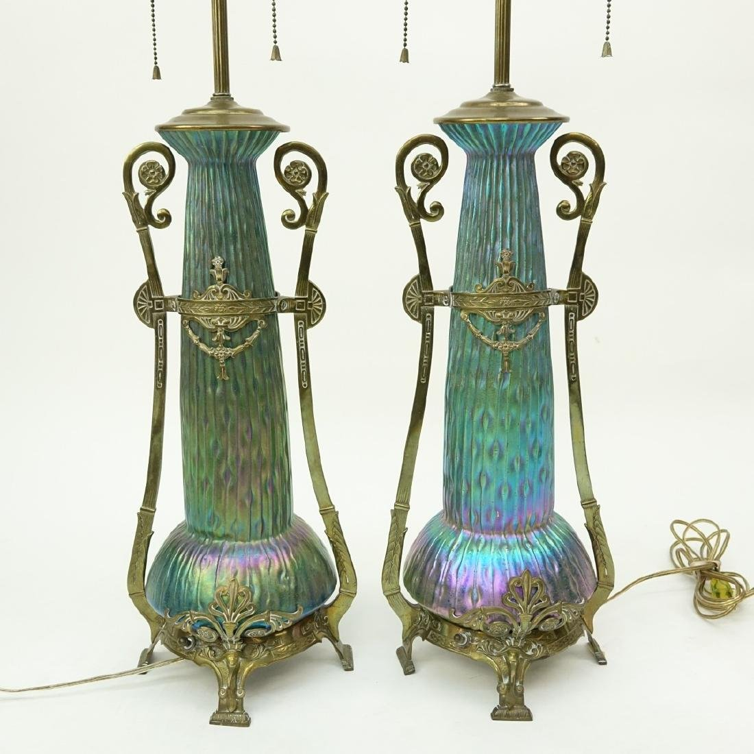 Pr Loetz Sea Urchin Art Nouveau Art Glass Lamps - 4