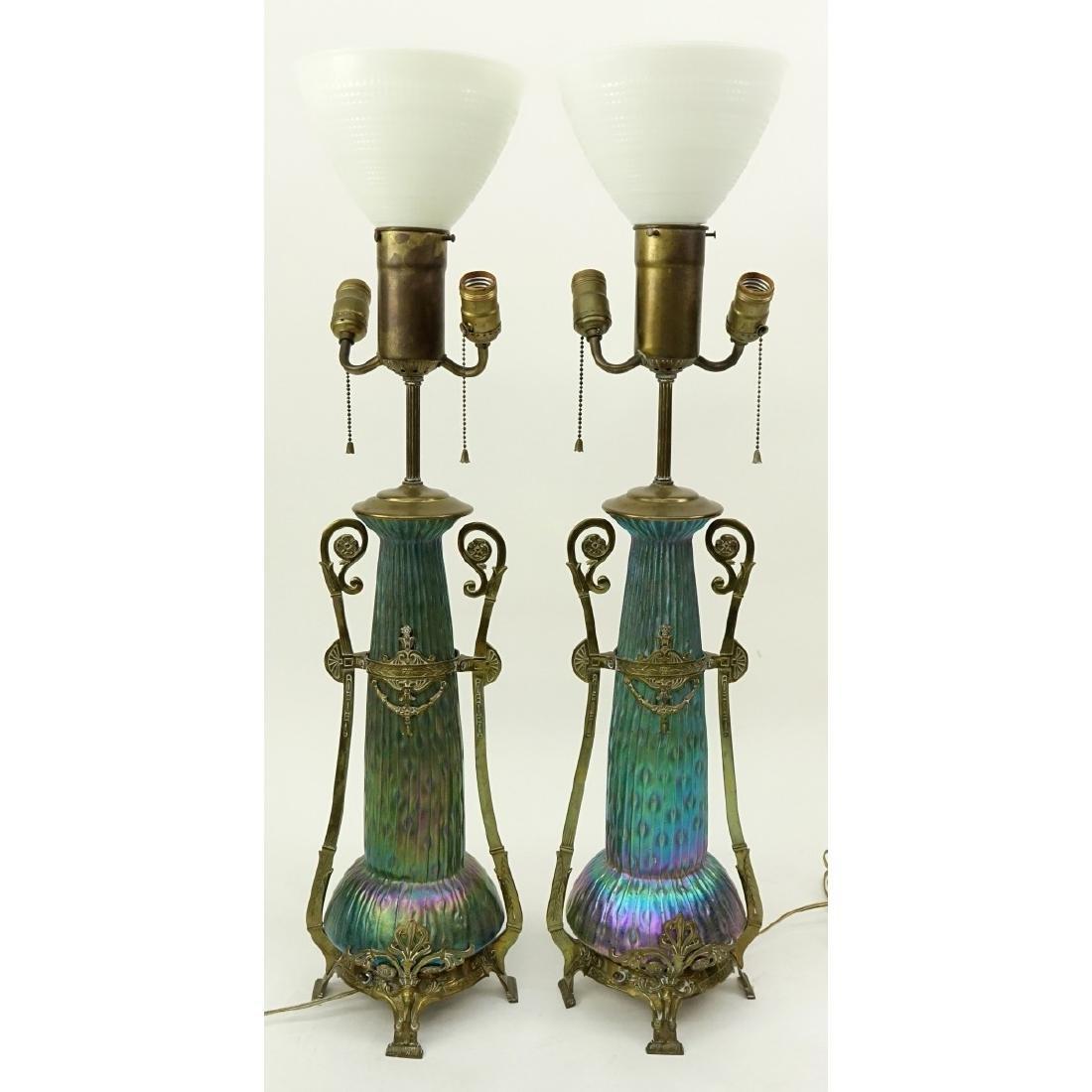 Pr Loetz Sea Urchin Art Nouveau Art Glass Lamps - 5