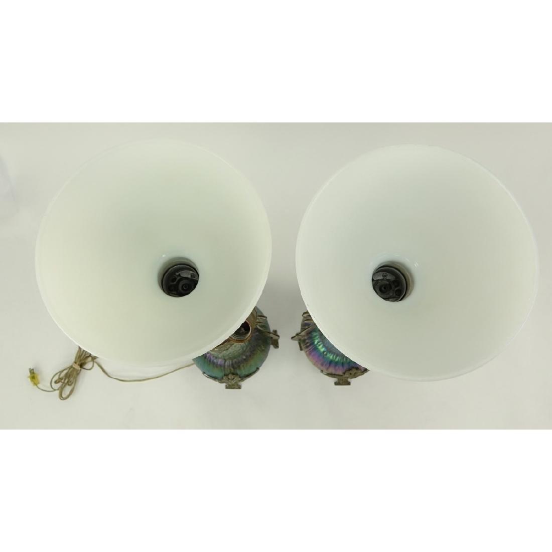 Pr Loetz Sea Urchin Art Nouveau Art Glass Lamps - 6