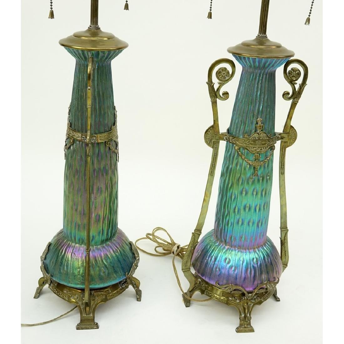Pr Loetz Sea Urchin Art Nouveau Art Glass Lamps - 7