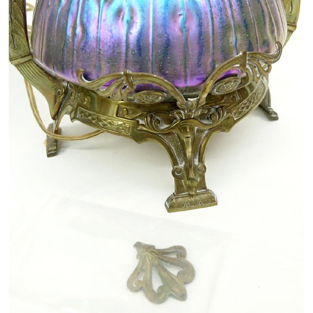 Pr Loetz Sea Urchin Art Nouveau Art Glass Lamps - 8