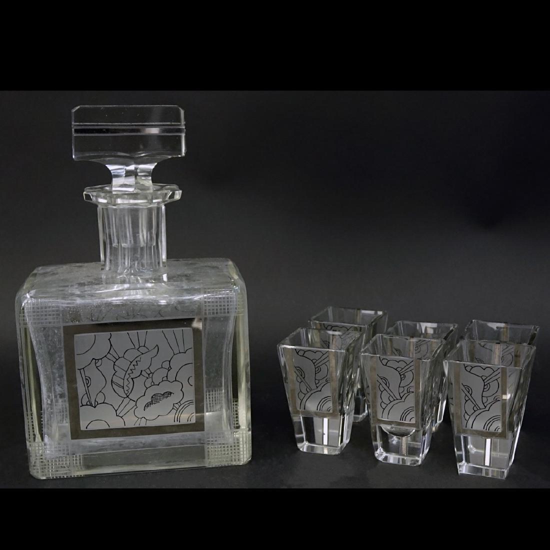 Czech Art Deco Crystal Seven Piece Set
