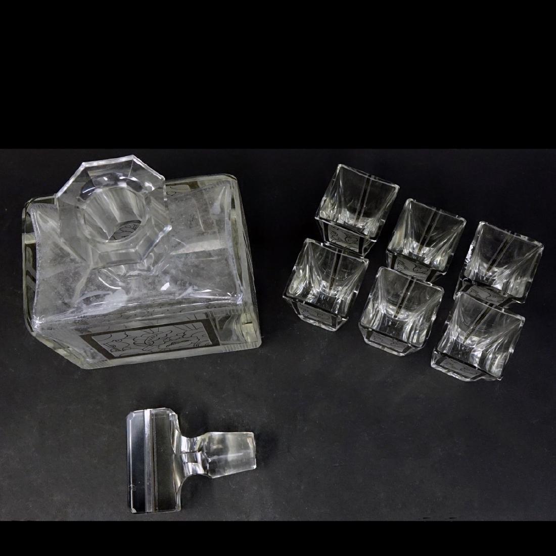 Czech Art Deco Crystal Seven Piece Set - 2