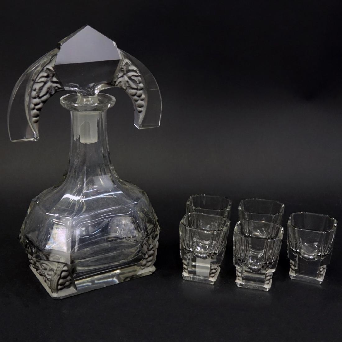 Czech Art Deco Crystal Six Piece Decanter Set