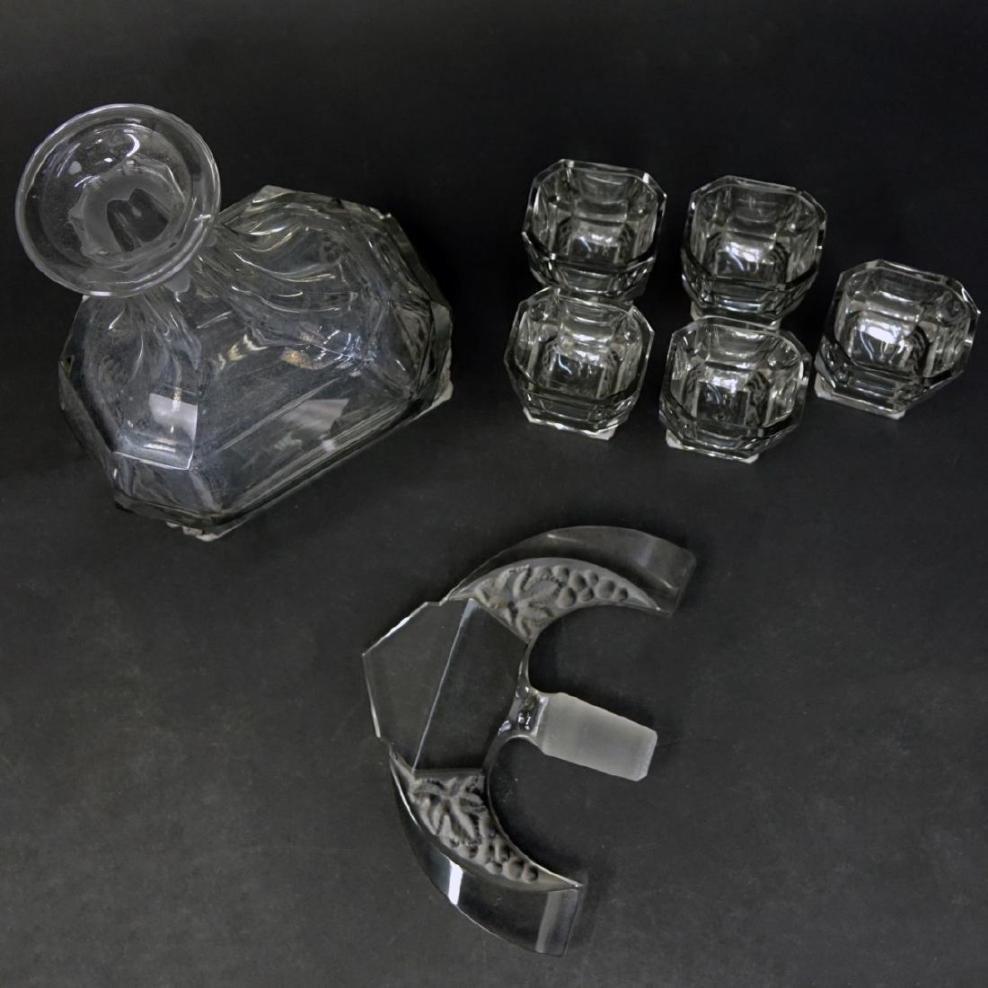 Czech Art Deco Crystal Six Piece Decanter Set - 2