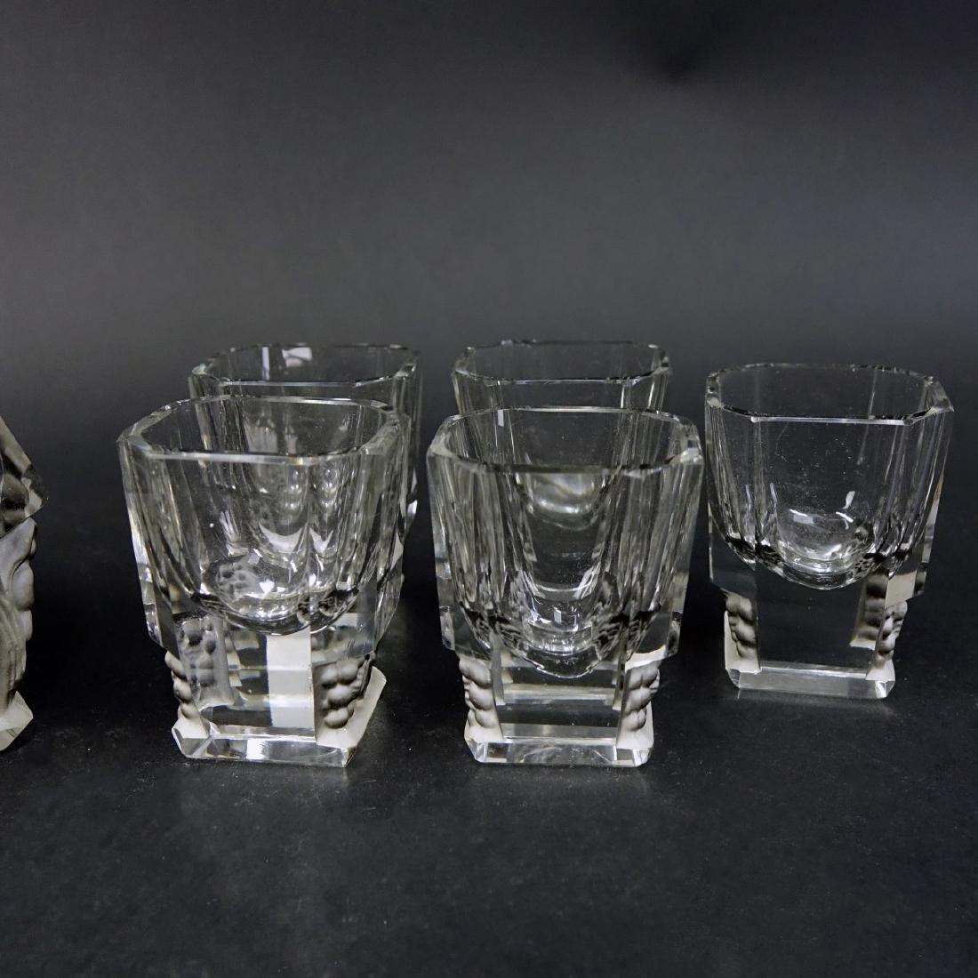 Czech Art Deco Crystal Six Piece Decanter Set - 3