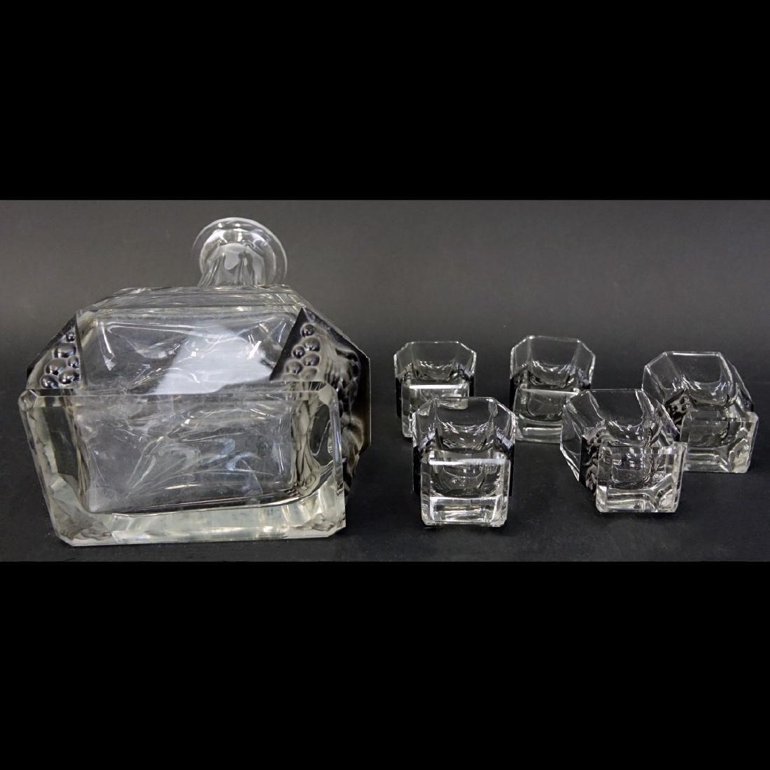 Czech Art Deco Crystal Six Piece Decanter Set - 5