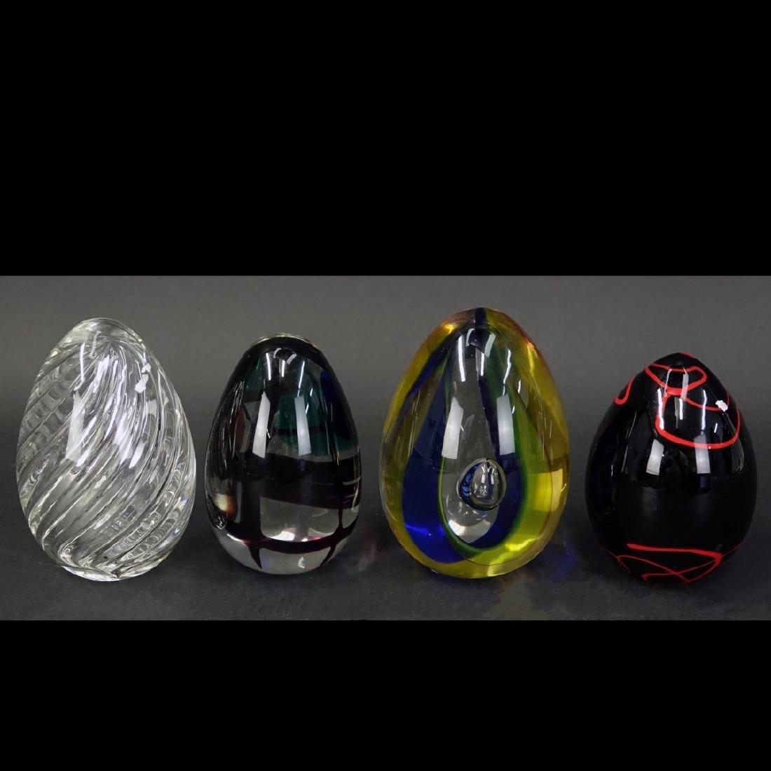 Four (4) Murano Seguso Art Glass Egg Paperweights