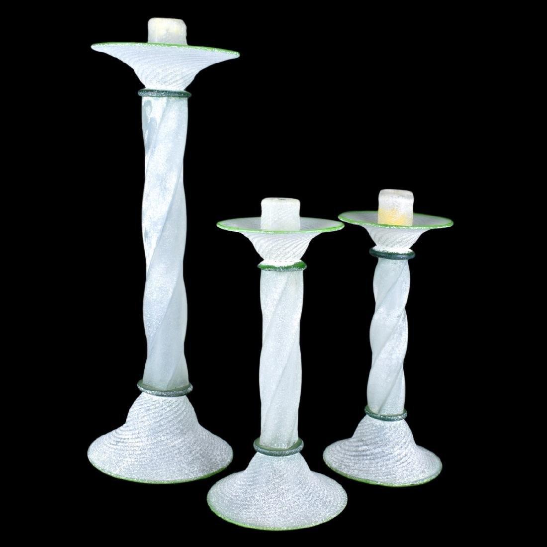 Three (3) Murano Italian Scavo Glass Candlesticks