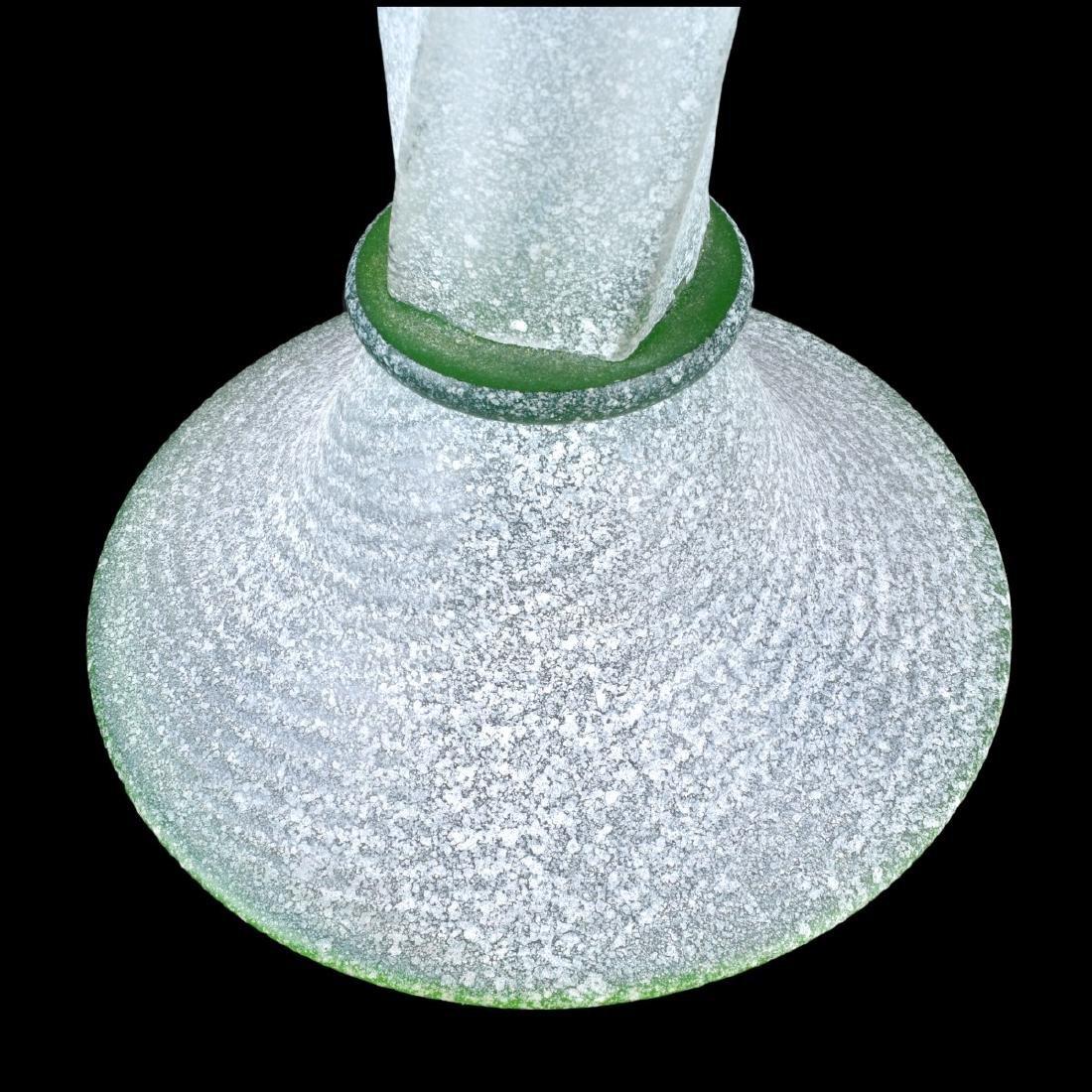 Three (3) Murano Italian Scavo Glass Candlesticks - 3