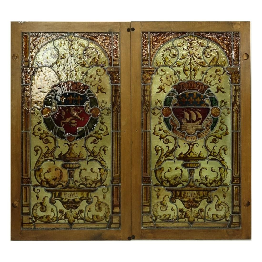 Pair of Vintage Stained Glass Window Panels - 7