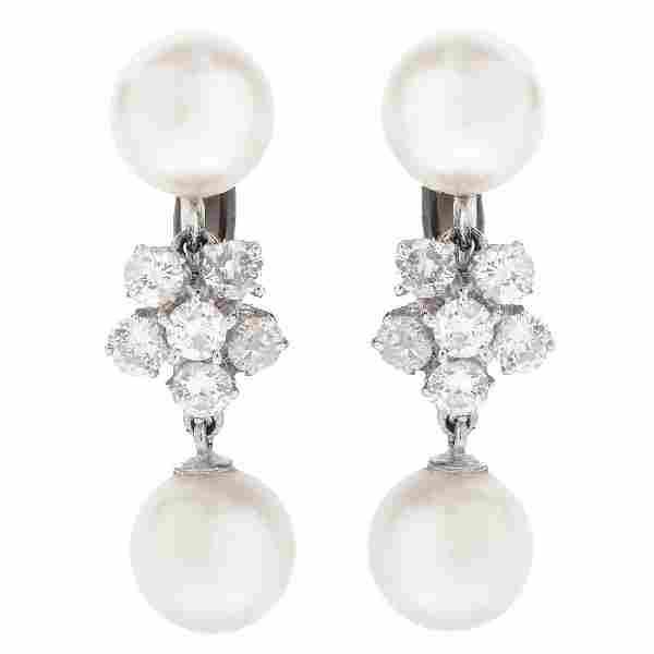Vintage Pearl and Diamond Earrings