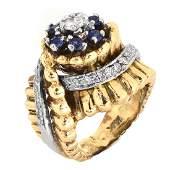 Retro Diamond, Shapphire and 14K Gold Ring