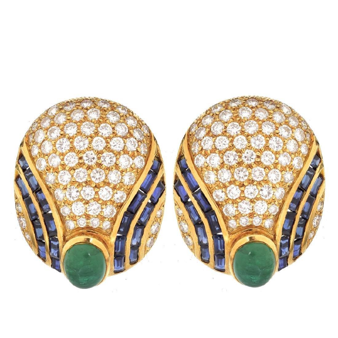 Diamond, Emerald, Sapphire and 18K Earrings