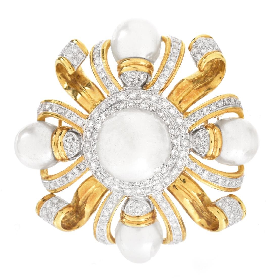 Pearl, Diamond and 18K Gold Brooch