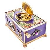 Russian 14K Gold and Enamel Bird Box