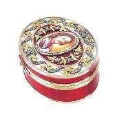 Contemporary Faberge 14K Gold and Enamel Box
