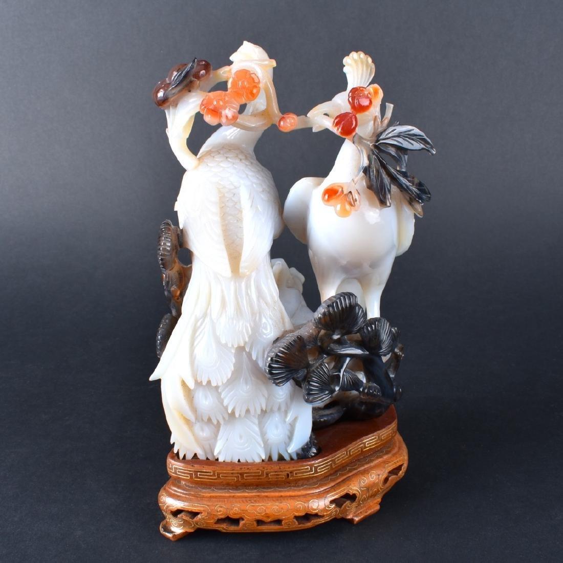 Carved Jade Bird Group - 2