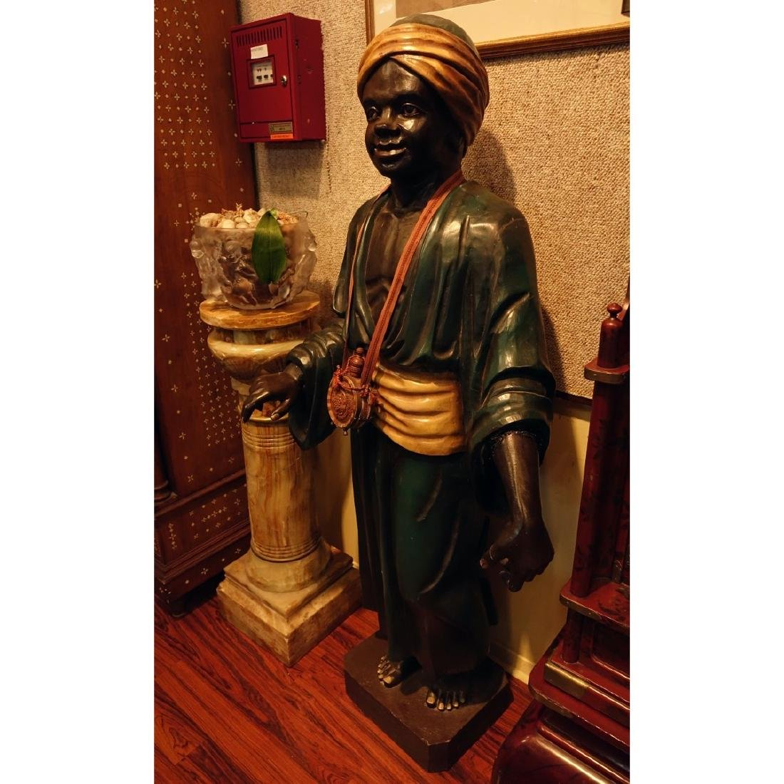 Life Size Polychrome Wood Carved Blackamoor Figure - 2