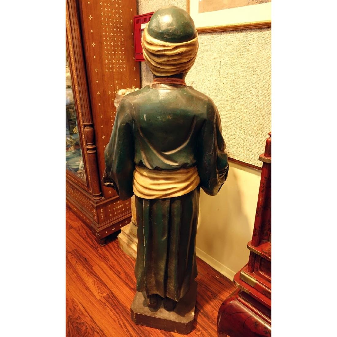 Life Size Polychrome Wood Carved Blackamoor Figure - 4