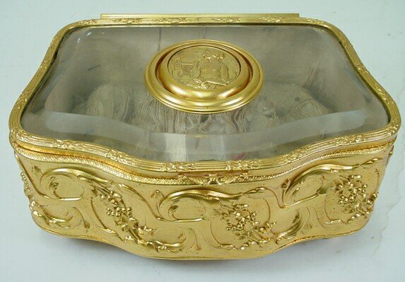 7: 19C French Crystal Dore Bronze Footed Jewelry Casket